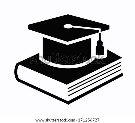 graduation cap and book icon - stock vector