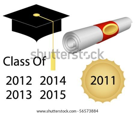 Graduation Cap and Diploma - stock vector