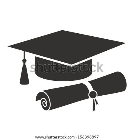 graduation cap and diploma black web icon. vector illustration - stock vector