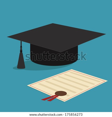 graduation cap and diploma certificate colorful flat style vector illustration - stock vector