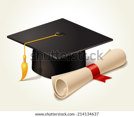 Graduation cap and diploma. Vector illustration - stock vector
