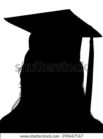 graduation cap and tassel on graduate student, graduation vector design, hand drawn graduating senior silhouette can be placed on any color - stock vector