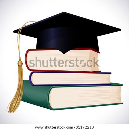 Graduation cap on stuck of books. Vector illustration. - stock vector