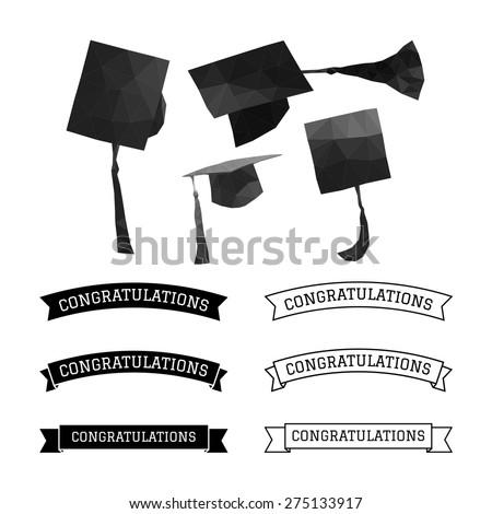 Graduation cap polygon and congratulations element vector - stock vector