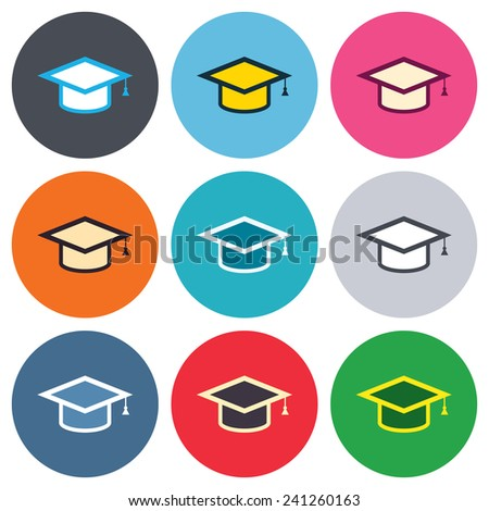 Graduation cap sign icon. Higher education symbol. Colored round buttons. Flat design circle icons set. Vector - stock vector