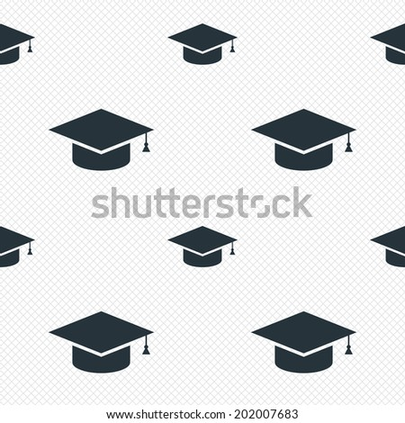Graduation cap sign icon. Higher education symbol. Seamless grid lines texture. Cells repeating pattern. White texture background. Vector - stock vector