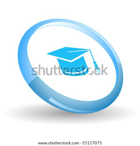 Graduation cap. Vector icon. - stock vector