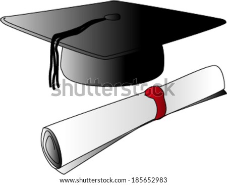 Graduation Cap with Degree - stock vector