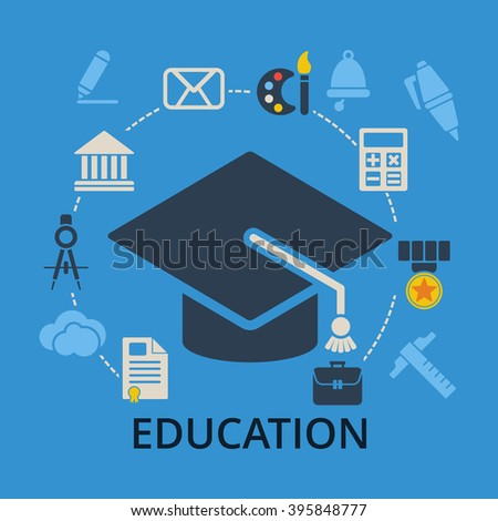 Graduation cap with education icons. Academic hat and icons for education training and tutorials. Education flat vector illustration on blue. - stock vector