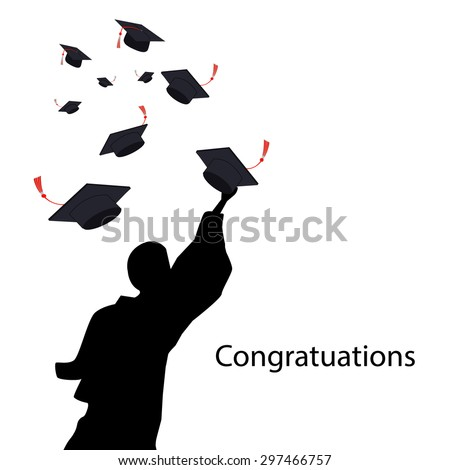 graduation ceremony shadow group of man and hat background - stock vector
