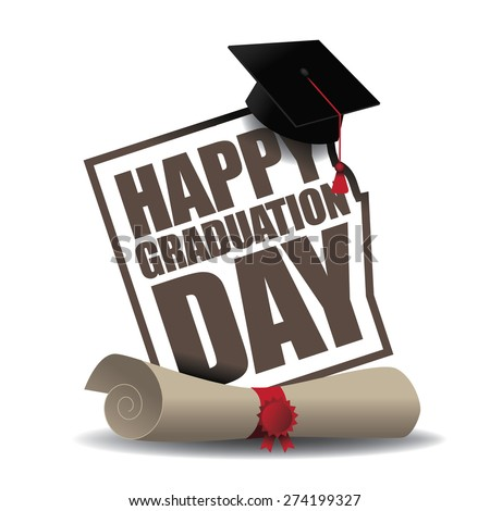 Graduation Day icon EPS 10 vector royalty free stock illustration for greeting card, ad, promotion, poster, flier, blog, article, social media, marketing - stock vector