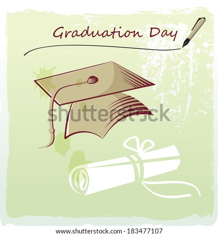 Graduation day with mortar and certificate - stock vector