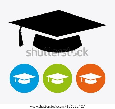 Graduation design over white background, vector illustration - stock vector