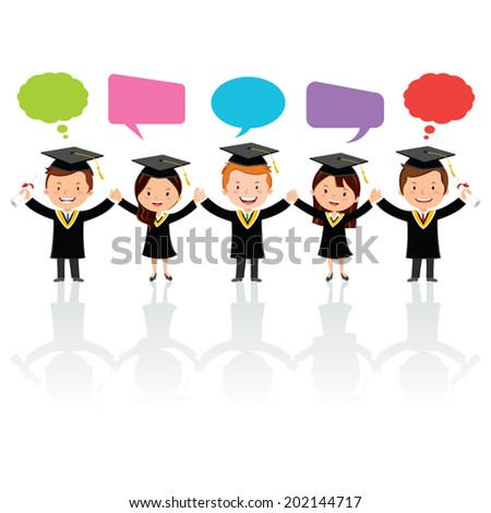 Graduation friends with thinking and speech bubbles. Friendship. Friends Forever!  - stock vector
