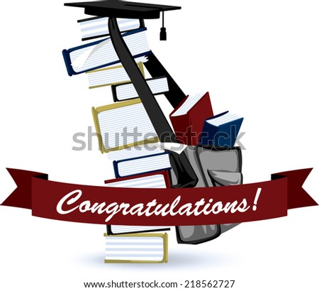 Graduation Greeting and a Stack of Books. - stock vector