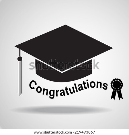 Graduation hat icon. Vector EPS 10. - stock vector