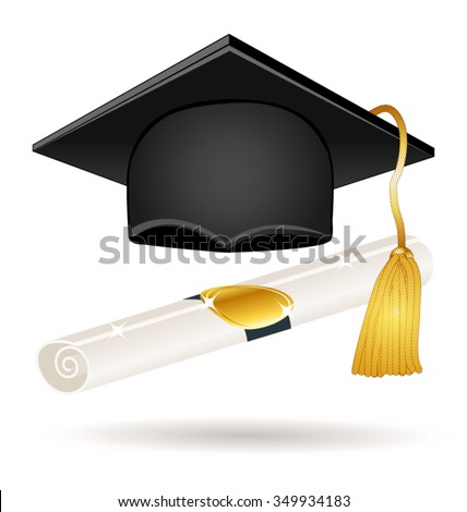 Graduation hat with diploma. Vector  icon. - stock vector