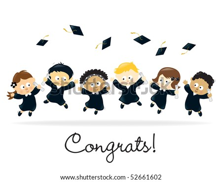 Graduation Kids - multi-ethnic - stock vector