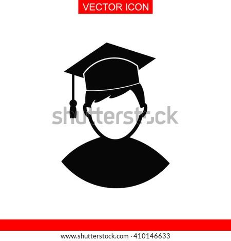 Graduation student vector icon. University, school education icon. - stock vector