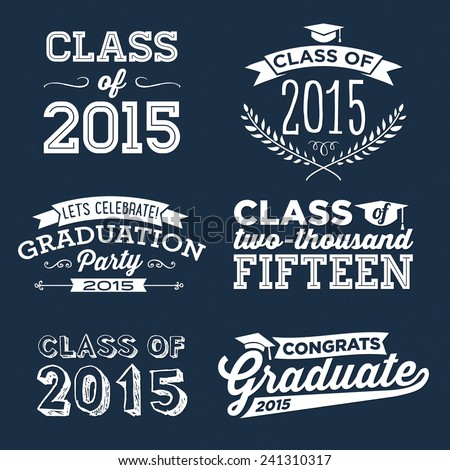 Graduation Vector Set | Let's Celebrate, Class of 2015, Congrats Grad, College Graduation, High School Graduation, Congratulations Graduate - stock vector
