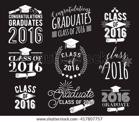Graduation wishes overlays, lettering labels design set. Monochrome  graduate class of 2016 badges. Emblem with sunburst, hat, diploma, bell. Isolated on black. Graduates logos for web, print. - stock vector