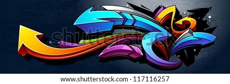 Graffiti background. Horizontal graffiti banner. Vector EPS 10 illustration. - stock vector