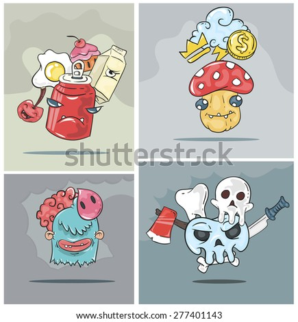 Graffiti  bizarre elements and characters. Street wear SWAG style, design. Print for T-shirt vector pattern. Doodle graffiti images with bizarre characters - stock vector