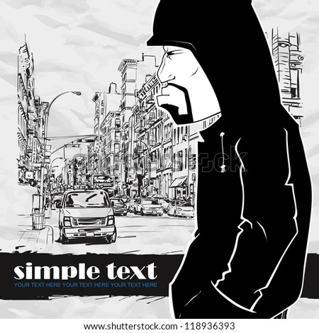 Graffiti character on a street-background. Place for your text. - stock vector