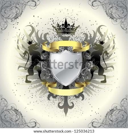Graffiti grunge heraldry - stock vector