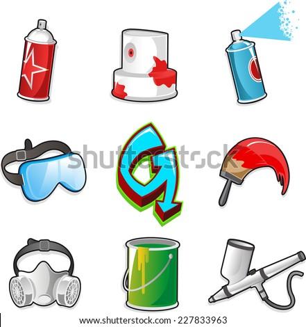 Graffiti icon set, with paint Spray, Aerosol, Mask, Signature, brush, airbrush, Pain bucket, goggles. Vector illustration cartoon.  - stock vector
