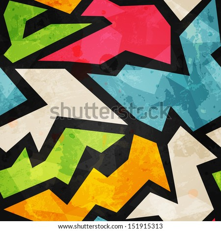 graffiti mosaic seamless pattern with grunge effect - stock vector