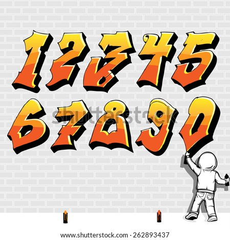 Graffiti Style font, fire like, kid painting on brick wall, Part 2/2 - stock vector