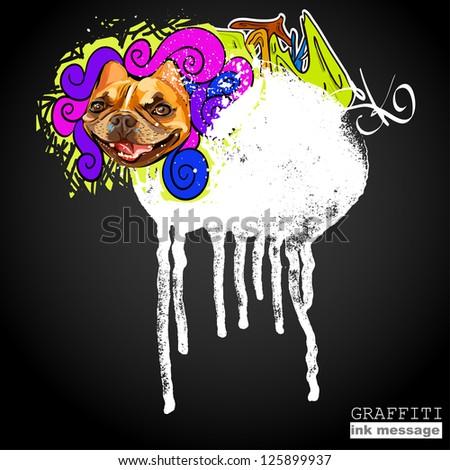 Graffiti style frame background. Urban grunge vector art - stock vector