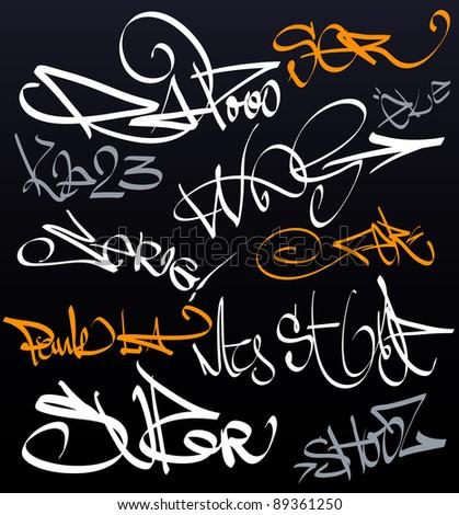 Graffiti tag wall - stock vector