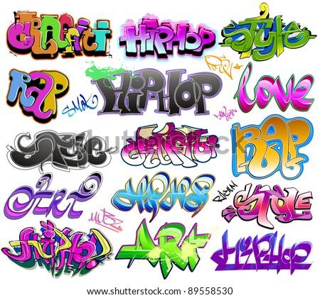 Graffiti urban art vector set - stock vector