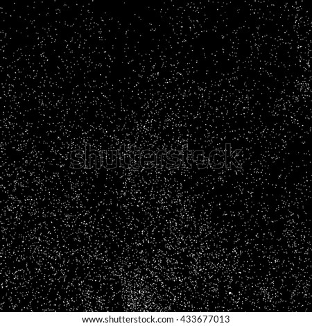 Grainy abstract  texture on  black background.  Snowflakes  design element. Vector illustration. - stock vector