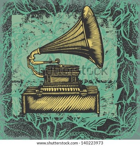 gramophone and abstract floral background. engraving style. vector illustration. - stock vector