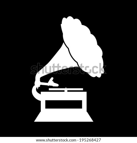 Gramophone Icon Isolated on Black Background - stock vector