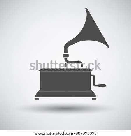Gramophone icon on gray background with round shadow. Vector illustration. - stock vector