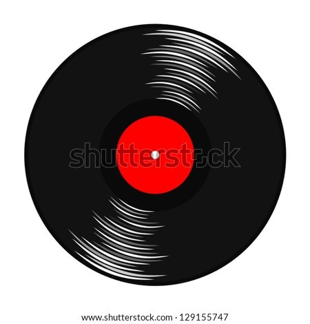gramophone record with red label - stock vector