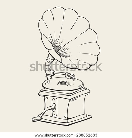gramophone vintage background. vector illustration - stock vector