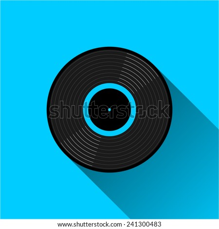 Gramophone vinyl LP record - icon. Black musical long play album disc with blue color label. old technology concept, flat and shadow theme design, vector art image illustration, isolated on background - stock vector