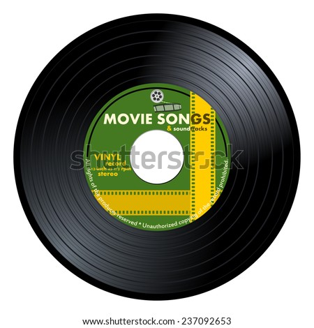 Gramophone vinyl LP record with green movie songs label. Black musical long play album disc 45 rpm. old technology, realistic retro design, vector art image illustration, isolated on white background - stock vector