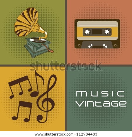 gramophone with cassette and musical notes, vintage. vector illustration - stock vector