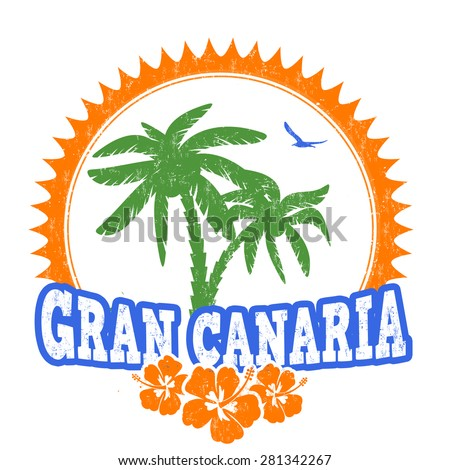 Gran Canaria travel rubber stamp on white background, vector illustration - stock vector