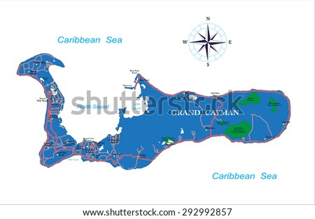 Grand Cayman map - stock vector