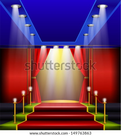 Grand Elegant Entrance, Red Carpet and velvet rope - stock vector
