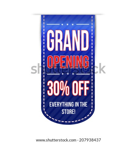 Grand opening banner design over a white background, vector illustration - stock vector