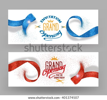 Grand opening banners with abstract red and blue ribbons - stock vector