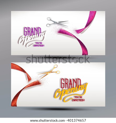 Grand Opening banners with abstract red and pink ribbon  and scissors - stock vector